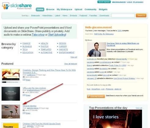 Momenti di gloria: la mia presentazione in home page su slideshare