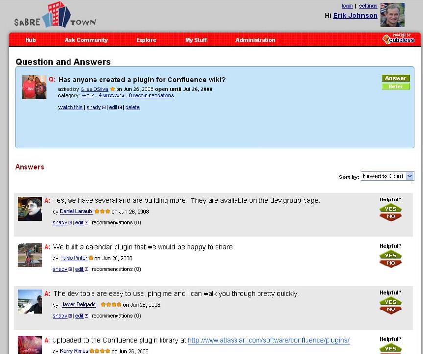 Schermata domande e risposte social network Sabre