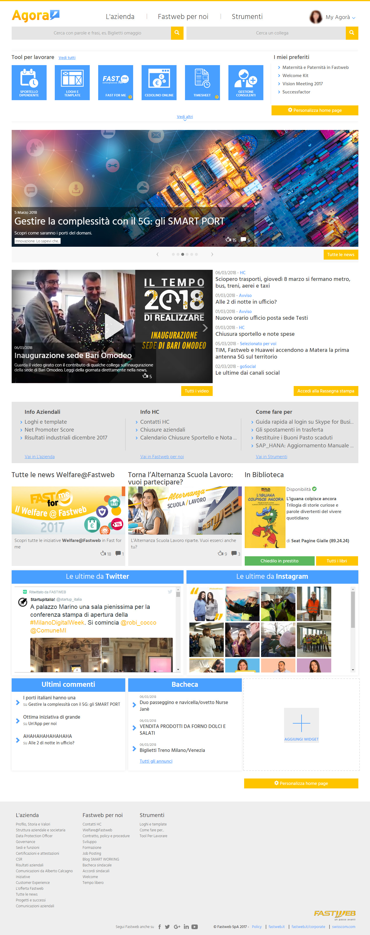 Fastweb_agora_home_page_[Intranet_management]