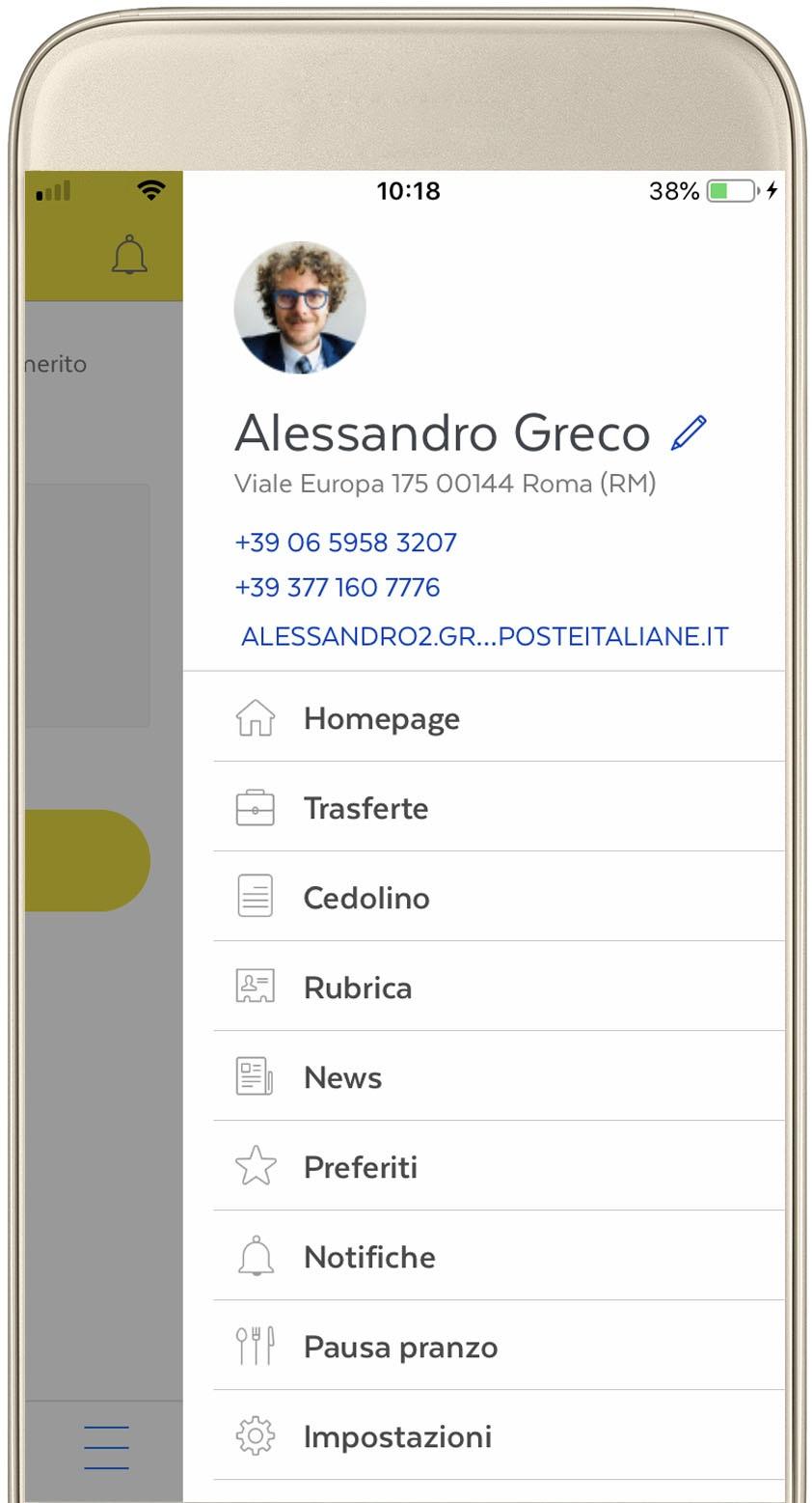 Intranet App noidiposte: menù di navigazione