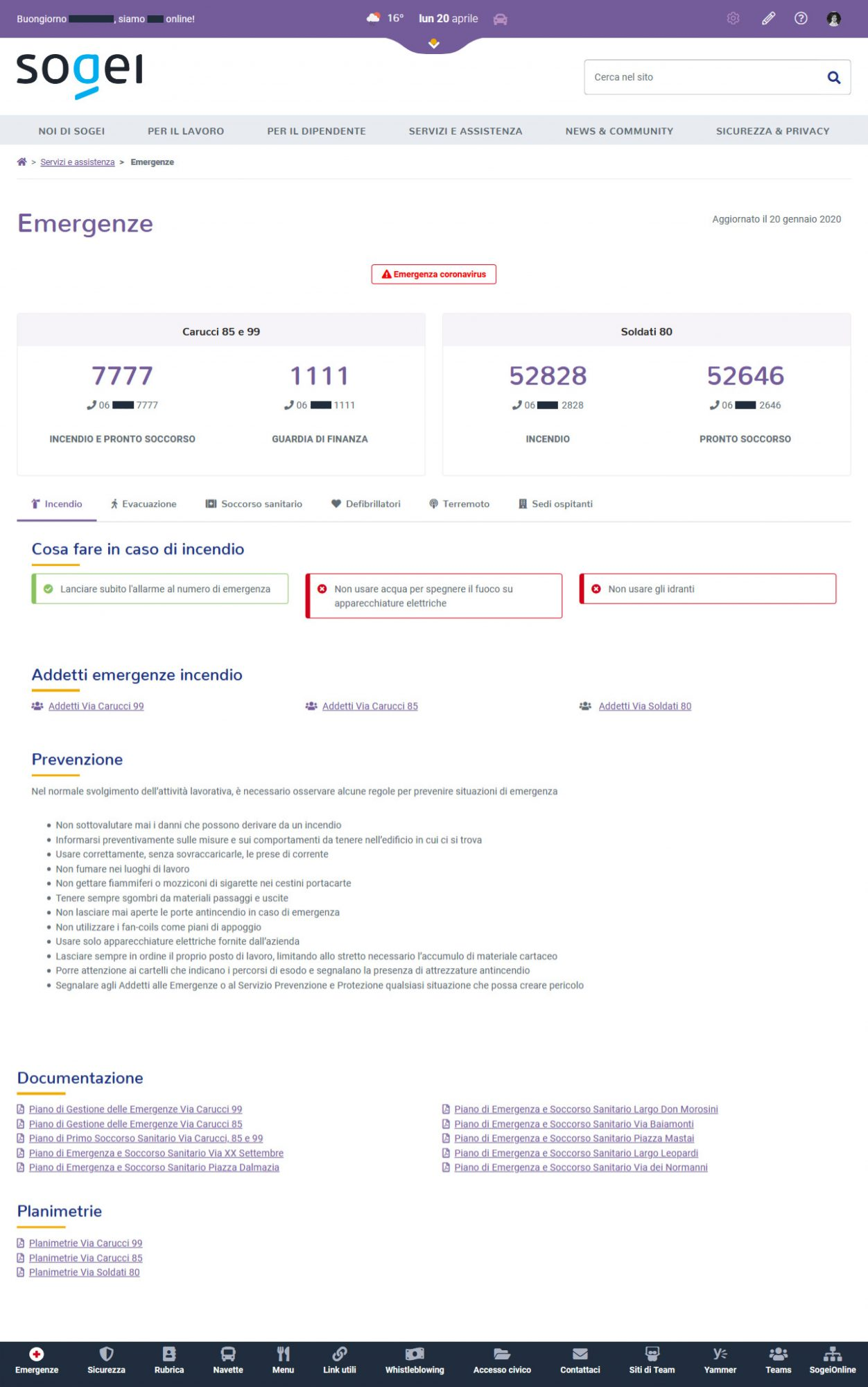 Pagina emergenze intranet Sogei